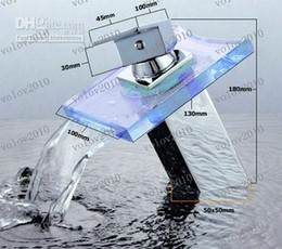 LLFA1703 hay necesidad de agua alimentado por batería LED VIDRIO grifo cascada cuenca del 4 de mezclador del grifo