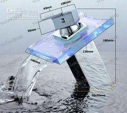 Wholesale LLFA1703 NO NEED BATTERY Water powered LED GLASS Waterfall Faucet basin Mixer Tap