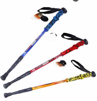 PVC 65-135 Aluminum Aluminum Alloy Retractable Alpenstock Walking stick Hiking Cane Cork EVA Handle Straight Bar Hiking Pole #C1223