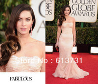 Reference Images Ankle-Length Chiffon 2014 70th Golden Globe Awards Red Carpet Megan Fox Prom Dress Lace Mermaid Strapless Elegant Dresses
