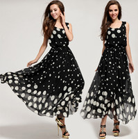 Wholesale Elegant New Fashion Women Sleeveless Polka Dot Maxi Dresses Plus Size Floor Length Evening Dress Ball Gown