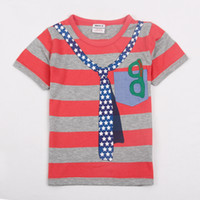 Wholesale C3838 Fashion design Nova Kids summer wear m y baby boys t shirt false tie printing tee shirts cotton short sleeve yarn dyed stripe tops