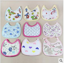 Wholesale 2015 Hot Sale Rushed No Brand Plain Stars Floral Thickening Widened Cotton Double sided Saliva Towel Baby Favorite Cartoon Design Bib Aprons