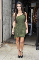Sheath/Column Sexy Chiffon Hot Sale!!!Good Desige Fashion Sheath Green Kim Kardashian Celebrity Dresses Mini Short One Shoulder Chiffon Prom Evening Dresses