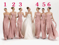 Wholesale Stunning Mix Bridesmaid Dresses in Six Different Sytles Dusky Pink Chiffon Beach Style Long Wedding Party Sisters Bridesmaids Dresses