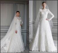 Winter muslim bridal gown - 2015 Vintage High Collar Long Sleeves Lace arabic islamic muslim Wedding Dresses A Line Chapel Train Free Veil Winter Garden Bridal Gown