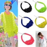 Wholesale Multicolor Pure Handmade Knit Woven Necklace Fluorescent Color Cotton Rope Punk JN20005