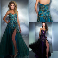 Reference Images Sweetheart Chiffon Sexy hunter and dark purple floor length sleeveless sequins peacock applique side slit sweetheart A line chiffon evening prom dresses 42660M