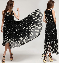 Women Ladies White Polka Dot Vest Floor-Length Dress Plus Size Bohemian Long Dress Beach Party Evening Dress