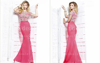 Trumpet/Mermaid Short Sleeve Sexy New Arrivals Graduation Dresses Sexy Bateau Neck Cap Sleeves Top Full Rhinestone Bead Glitz Mermaid Formal Prom Gown TE 92268