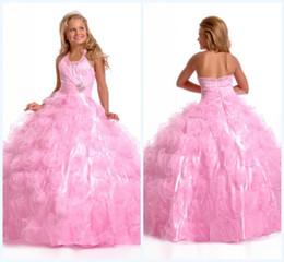 Wholesale Custom made Lovely Sparkle Ball Gown Halter Floor length Beads Crystals Pleats Organza First Communion Dress Hot