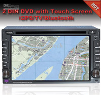 Wholesale universal two Din inch Car DVD player with GPS navigation free map audio Radio stereo USB SD AUX Bluetooth TV digital touch screen