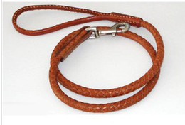 Wholesale hot sell real leather leash pitbull harness cattle hide leash dog cat chain pet products D