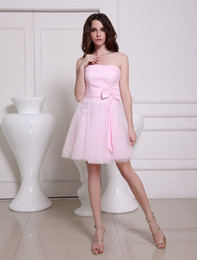 Wholesale Lovely Pink Strapless A line Bow Tulle Elegant Cocktail Dress bridesmaid dresses u6 pmc