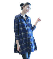 Wholesale Autumn New Maternity Long sleeved shirt in the grid maternity dress coat