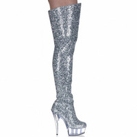 Wholesale Shining Silver CM Ultra High Heels Boots Barreled Platform Fashion PU Leather Inch Performance Shoes Sexy Thigh High Boots