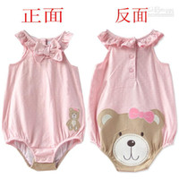 Girl Summer 100% Cotton 2013 New Summer Princess Baby girl pink Cute bear Sleeveless vest sling Romper Onesies Bodysuit triangle girl rompers xbxh