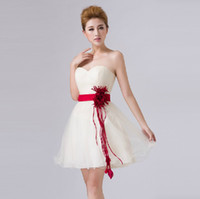 Wholesale 2015 Cheap Bridesmaid Dress White Ball Gown Tulle Red Belt Strapless Short Party Dance Prom Dress Gown