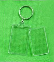 blank keyrings - 200X Blank Acrylic Rectangle Keychains Insert quot x quot Photo Keyrings Key ring chain