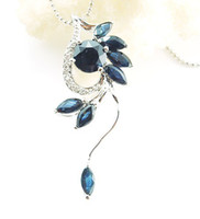 Wholesale Sapphire necklace pendant sterling silver Natural original blue sapphire Perfect jewelry DH