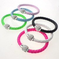 Wholesale Fluorescent Neon Color PU Leather Bracelet with Crystal Shamballa Disco Ball Magnetic Clasp Bracelet
