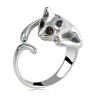 Wholesale 925 Silver Ring Cat Ring Color Crystal Rings Gemstone Ring