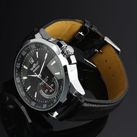 Wholesale promotion SG Post Or HK Post Brand New Men s Automatic Mechanical Watch Date With Black Leather Strap Dial