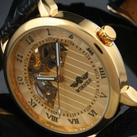Wholesale 2014 new arrival Gents Men s Golden Case Skeleton Dial Clear Back Fashion Roma Dial Watch