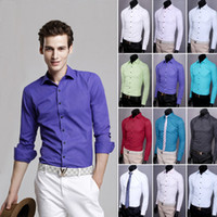Cotton uyuk - Uyuk fashion solid color shirt easy care male business casual slim long sleeve shirt