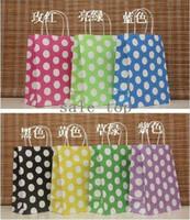 Paper Zhejiang China (Mainland) Hand Length Handle wholesale!Free shipping 7 Color Dot Design Fashion Hand Length Handle Paper Bag 27*21*11cm (50pcs lot)