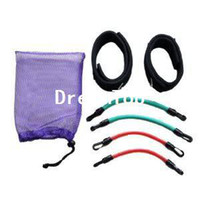 Cheap Set of 4 Leg Thigh Latex Resistance Band Gym Fitness Exercise Tube Ankle Straps free shipping