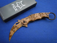 Knives   Camouflage Fox karambit EDC pocket knife 440C blade Aluminum+ steel handle camping knife Folding knife knives with clip New in Original box
