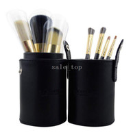 Artificial Leather Woody Power One Set of 7Pcs Professional Makeup Cosmetic Brush Set Kit Tool With cylinder box