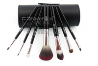 Artificial Leather Woody Foundation Hot Selling 7Colors Professional Makeup Tools Brushes Cosmetic Brush Set Kit Tool 7 Pieces in box