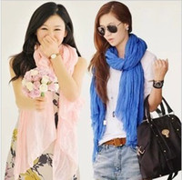 Wholesale 2013 Women Long Big Crinkle Voile Soft Scarf Wrap Shawl Stole Pure Candy Color