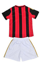 Wholesale Top Quality Youth Home Red Black Milan Italy Soccer Jerseys Shorts Kids Football Jerseys