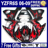 Wholesale Custom For yamaha Red black YZF R6S C YZF R6S YZFR6S Red flames black Fairing gifts