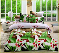 100% plus density sanding  Gifts every families NEW ARRIVAL!Sanding Home Textile 3D Painting LILY flower bedding 4PCS set bedclothes quilt duvet cover bed linen bedsheet pillow cover set