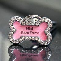 Wholesale new High Quality cute pink charmly crystal rhinestone bone DIY pet cat dog collar charm mini photo frame crystal pet ID tag