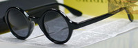 Wholesale Retro Vintage Johnny Depp Sunglasses Black With darkgrey Lens Round Frame