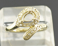 White semi mount ring pear - Pear cut x7mm K Solid Yellow Gold ct Natural Diamond Semi Mount Ring