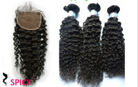 Malaysian Hair Kinky Curly 100% human hair  5% Off For The Last Week! Malaysian Closure And Weft Virgin Human Hair, Natual Kinky Curly Weave 3pcs lot +1piece Closure, 7A Quality
