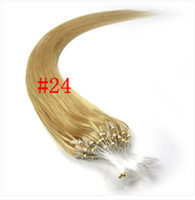 blonde straight 0.5g 14-28inches #24 loop micro hair extension Nano ring hair Indian Remy human hair 1gram strand 100%human hair
