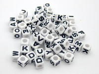 Wholesale 500pcs Mixed Alphabet Letter Acrylic Cube Beads Bracelets Necklace Accessories DIY Birthday Gift x6mm