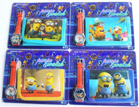 Wholesale 100 sets per despicable me Purse Wallet and Wrist watch sets kids children christmas cartoon quartz pack gift watches