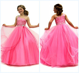 Wholesale Hot Cheap Custom made Lovely Asymmetrical Neck Backless Ball Gown Floor length Beads Crystals Tulle First Communion Dress