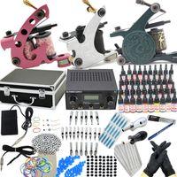 USA   Tattoo Supplies Starter Tattoo Kit Sets 3 Tattoo Machine Gun Inks Needles Power Tips Grip Equipment Supply for Beginners(USA warehouse)KI201