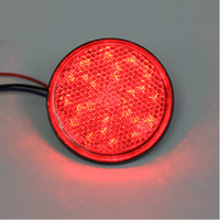 Wholesale Red LED red len Reflectors Round Brake Light Universal Motorcycle Car Truck
