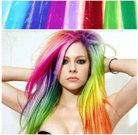 Wholesale 10pcs colors Punk DIY high temperature silk dyeing Hair pieces Long Solid Color Clip On In Hair Party Straight Extension