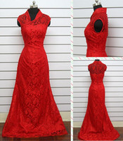 Wholesale Custom Made Wedding Dress Bridal Gown Mermaid Y Neck Triditional Chinese Dress Lace Applique Red Color Covered Button Sweep Train Sheer Hot
